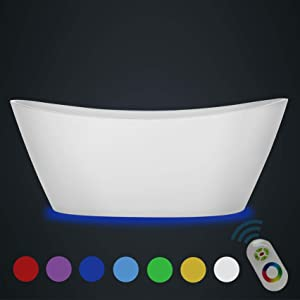Empava 67 inch Acrylic Freestanding Bathtub 7 Color Changing LED Lights Soaking Tub with Wireless Remote Control, White