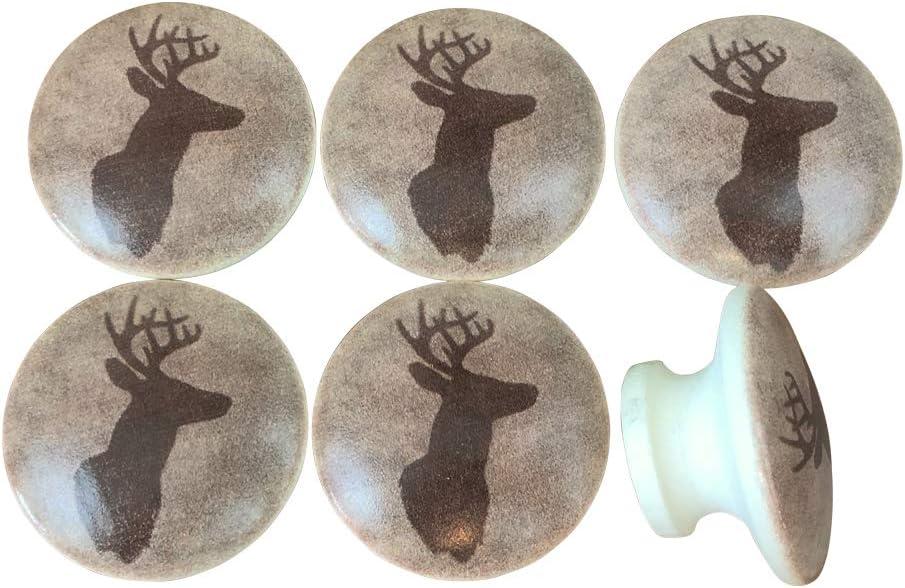 Set of 6 Deer Head Print Wood Cabinet knob