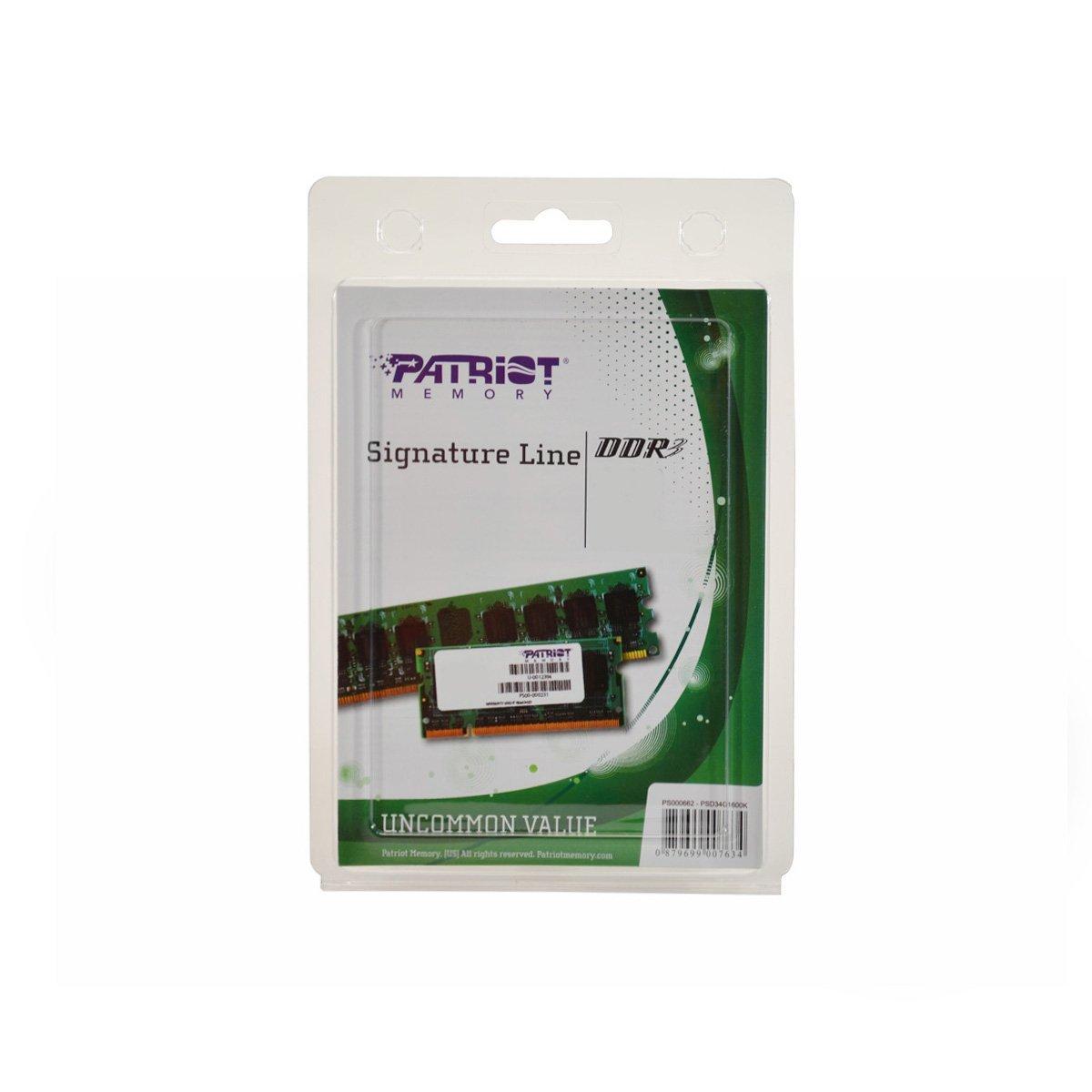 Memoria RAM 8GB Patriot Signature DDR3 (2 x 4 GB) CL11 PC3-12800 (1600MHz) 240-Pin DDR3 Kit PSD38G1600K