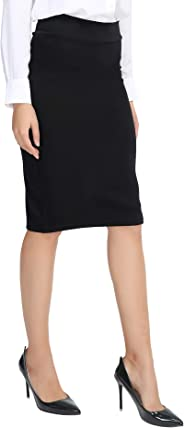 Urban CoCo Women's Elastic Waist Stretch Bodycon Midi Pencil Skirt