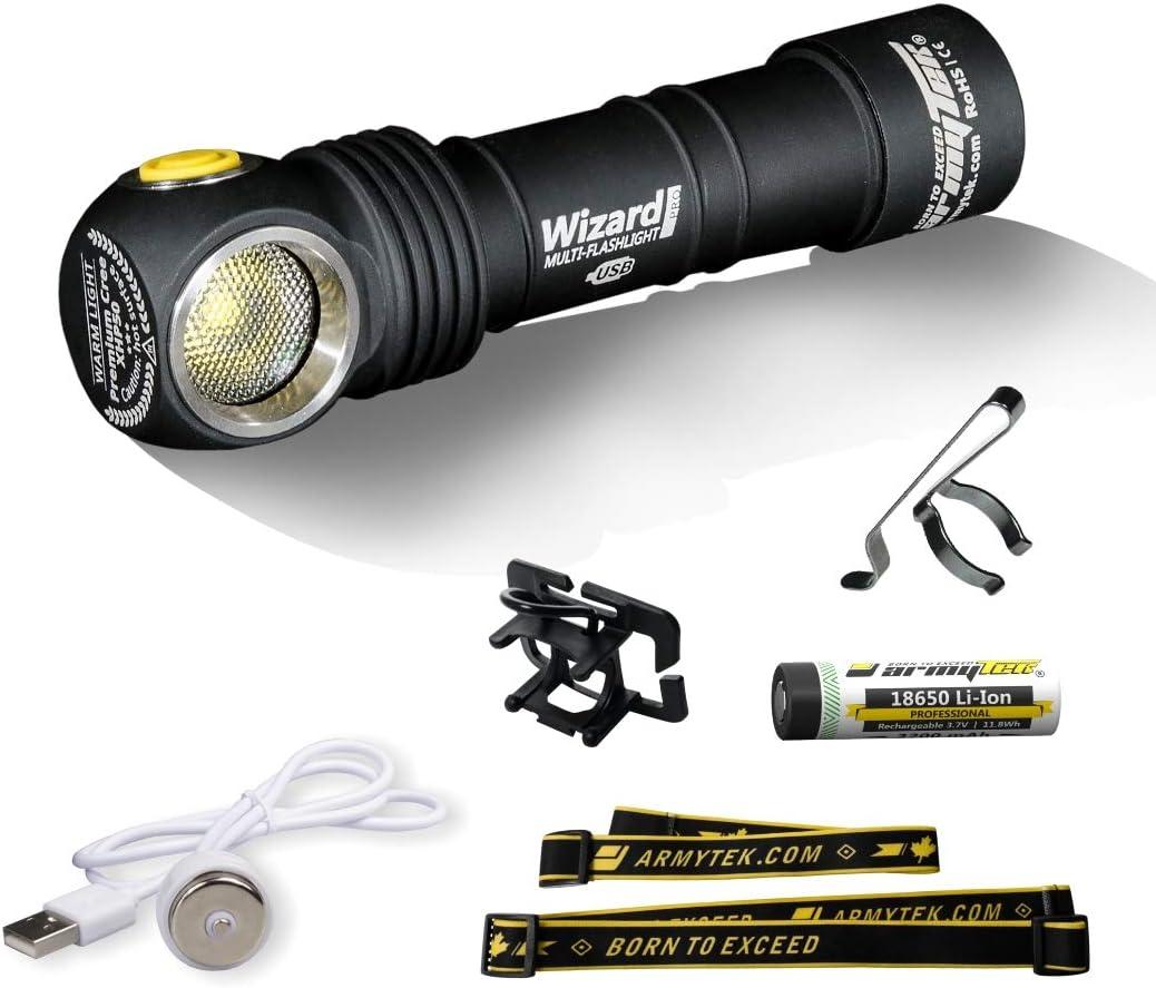 Linterna frontal LED Armytek Wizard Pro v3 XHP50 blanco frío 1800 lúmenes recargable por USB + Batería 18650 Li-Ion