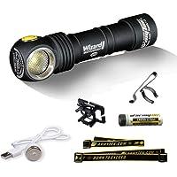 Armytek Wizard Pro v3 Magneet USB + 18650 / XHP50 warm 2150 lumen volwassenen, unisex, zwart, 10