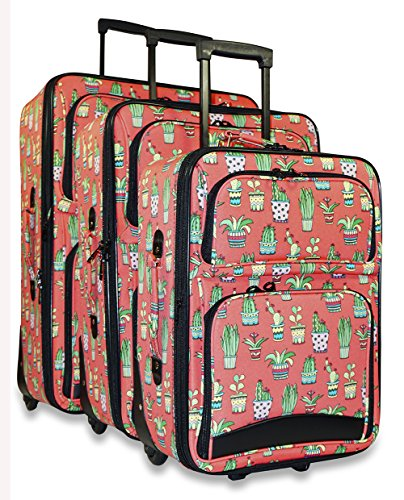 Ever Moda 3-Piece Carry On Luggage Set with Wheels, Rolling Suitcase, Cactus Coral Pink (Cheerleading Outfits Cheap)