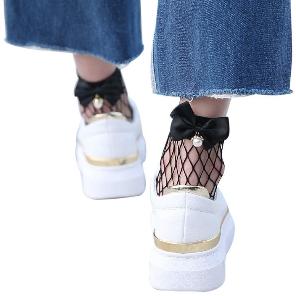 Women Ruffle Fishnet Ankle High Socks Mesh Lace Fish Net Short Socks Soft Sweat Deodorant Casual Socks Anti-Slip Bed Sleep Skateboard Comfortable Sock Floor Sports Stocking by Pausseo