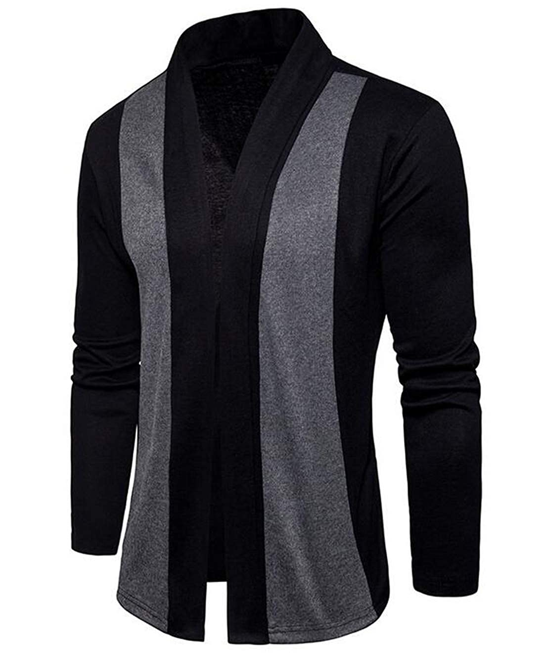 BLTR Men Slim Fit Block Color Long Sleeve Shawl Collar Open Front Knit Cardigan
