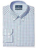 "BUTTONED DOWN Men's Tailored Fit Button-Collar Pattern Non-Iron Dress Shirt, Purple/Blue/Navy Tattersall, 17"" Neck 34"" Sleeve"