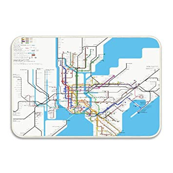 New York Subway Map Entrances.Amazon Com Map Decor New York City Subway Indoor Outdoor Doormat