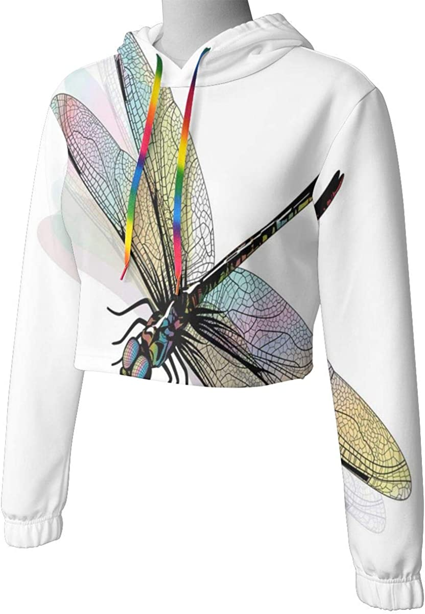 Womens Cropped Hoodie,Shady Dragonfly Pattern with Ornate Lace Style Spiritual Beauty Wings Design,S-XL