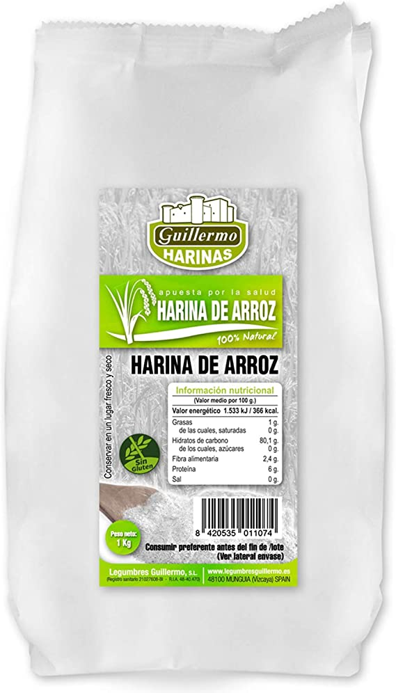 Guillermo Harina de Arroz 100% Natural (Pack de 3) 1Kg ...