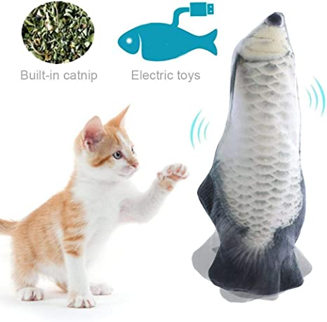 Catnip Fish Toys for Cat,Electric Cat Wagging Fish Pet Interactive Toys,Realistic Plush Toy Simulation Catnip Soft Gift for Pet Chewing, Teeth