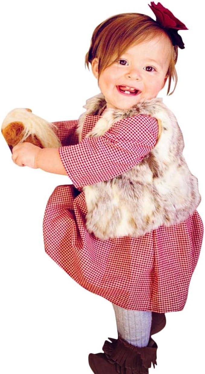 Yannerr Bebé niña Manga Larga Princesa Fiesta Cuadros Bowknot ...