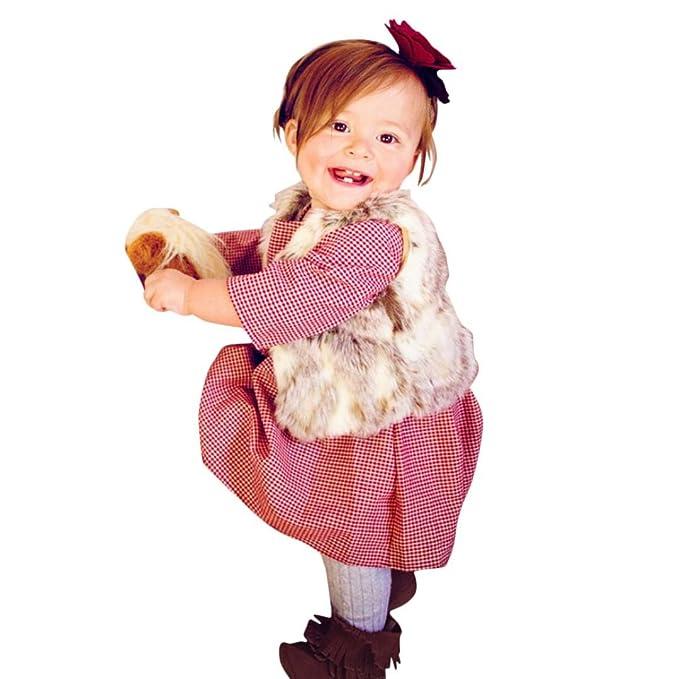 Yannerr Bebé niña Manga Larga Princesa Fiesta Cuadros ...