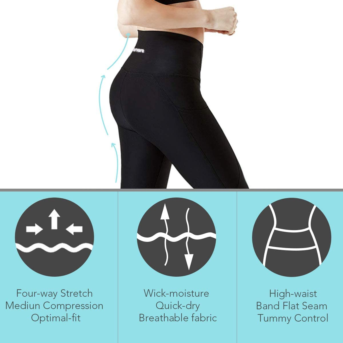 Plus Size Leggings Non See-Through Workout Running Tights 4 Way Stretch Ufanore High Waist Yoga Pants for Women Tummy Control Yoga Pants with Pockets