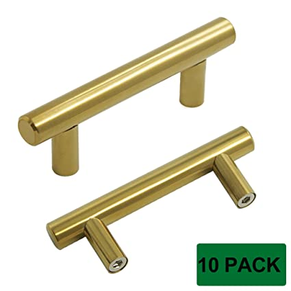 probrico brushed brass modern cabinet hardware kitchen cabinet t bar knobs dresser pull bathroom gold drawer - Kitchen Cabinet Handles 2