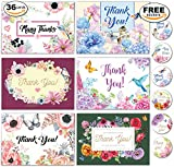 36 Thank You Floral Assortment Cards with Envelopes - Blank Inside, Free Matching Stickers - Bulk Boxed Set - Greeting, Wedding, Bridal Or Baby Shower, Birthday, Business, Perfect Gift