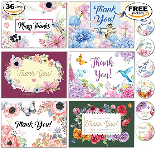 36 Thank You Floral Assortment Cards with Envelopes - Blank Inside, Free Matching Stickers - Bulk Boxed Set - Greeting, Wedding, Bridal Or Baby Shower, Birthday, Business, Perfect Gift by Big A Solutions
