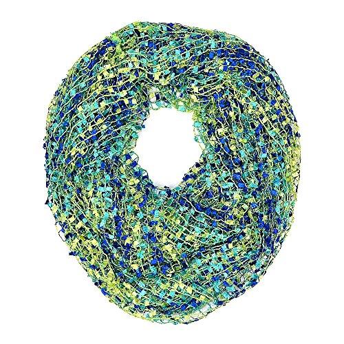 Crochet Confetti Infinity Loop Scarf (Green) - Green Crochet Scarf