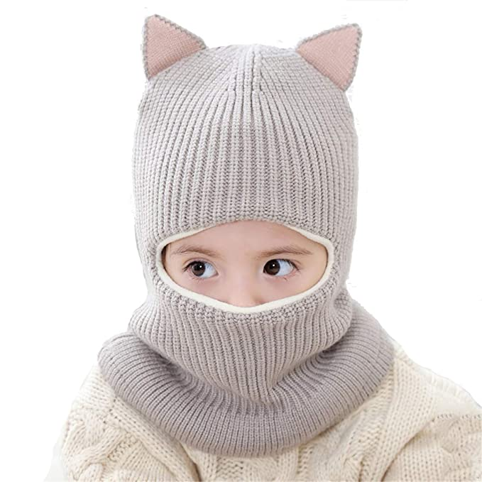 601a689dad8 Cat Ear Baby Girls Boys Winter Hat Toddler Knitted Hood Scarf Beanies with  Fleece Lining (