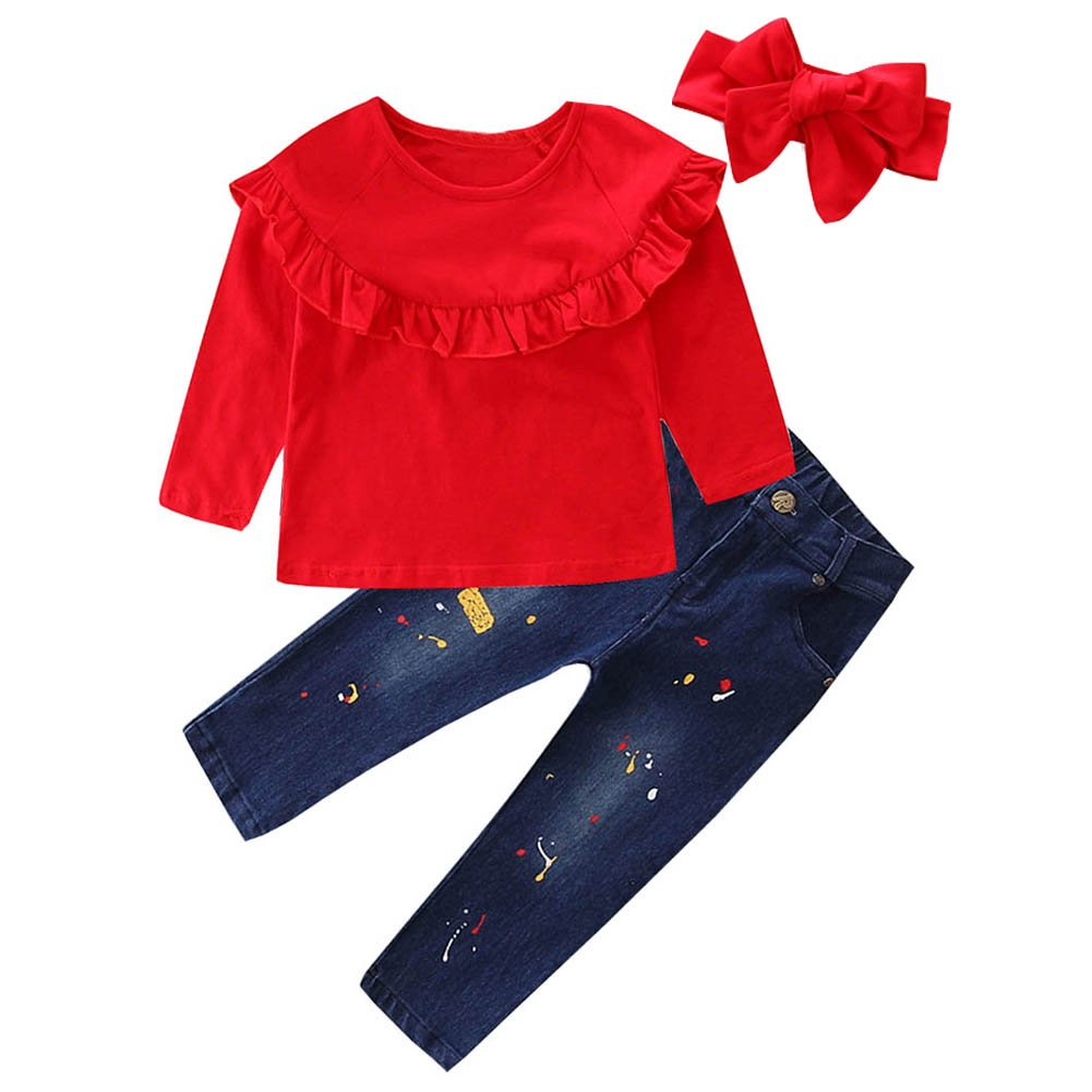 Scfcloth Kids Clothes Girls Lotus Leaf Collar Long Sleeve Tops + Long Jeans Clothing Set Outfits