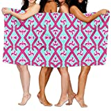 Ghgbm Premium Piece Towel Candy Cane Dance Pink Aqua Fabric (3207) Pattern Vector 100% Polyester Velvet For Household
