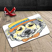 Custom Machine-washable Door Mat Animal Cartoon Art Style Animal Theme Cute Dog in Hat and Bow Tie Illustration Light Yellow Light Grey Indoor/Outdoor Doormat Mat Rug Carpet