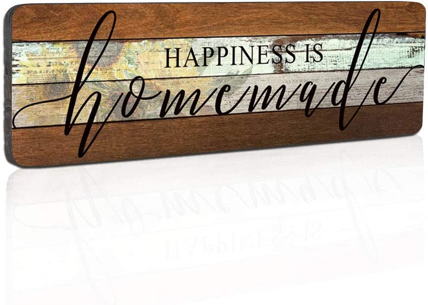 Smarten Arts Farmhouse Wood Sign Wall Decor Love Sign Home Decor Wall Art-Happiness is Homemade-Kitchen Signs Wall Decor Size 16