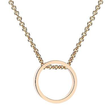e7381357e404a MYA art Damen Kette Halskette mit Ring Kreis Offen Geometrisch Anhänger  Titan Rosegold Vergoldet Rose Gold MYARGKET-30  Amazon.de  Schmuck