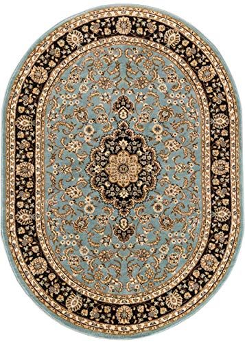 Noble Medallion Light Blue Persian Floral Oriental Formal Traditional Area Rug 5x7 (5'3