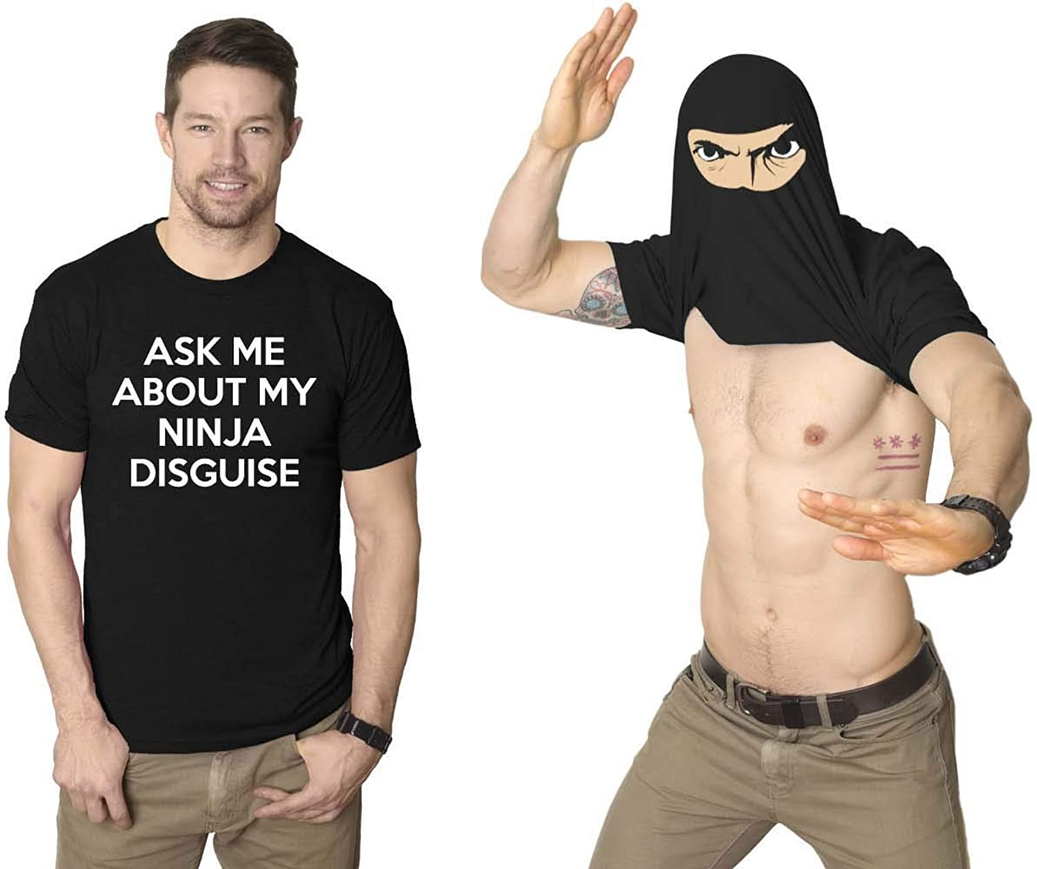 Mens Ask Me About My Ninja Disguise Flip T shirt Funny Costume Graphic Humor Tee