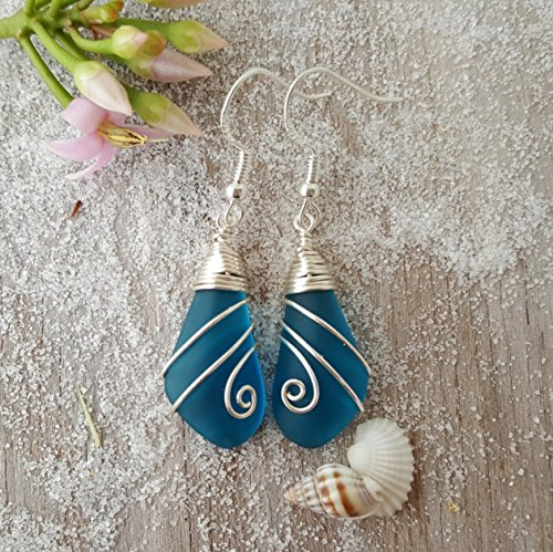 Handmade in Hawaii,wire wrapped Swirls design teal blue sea glass earrings, sterling silver hooks, Hawaiian Gift, FREE gift wrap, FREE gift message, FREE shipping