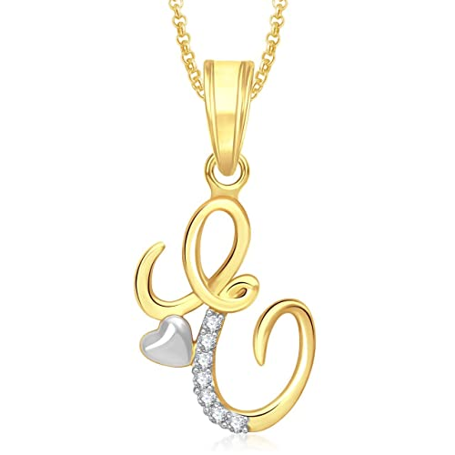 85e2a72af7c3c Buy Meenaz  E  Letter Pendant Locket Gold Plated Alphabet Heart For Men And  Women With Chain PS329 Online at Low Prices in India