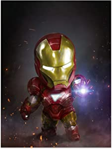 FUNHUA Marvel Poster Small Iron Man Wall Art Canvas Prints Unframed Miracle Team Leader Painting for Children Kids Boys Room Living Room Bedroom 45x60cm