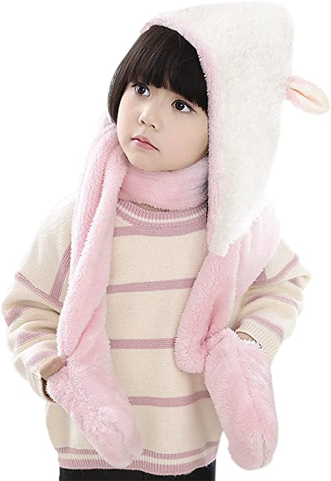 7b6e7898394 Kids Hat Glove Scarf 3 In 1 Set Girls Winter Cartoon Kits Warm Hoodie Sheep Hats  Caps with Earflaps Long Cotton Novelty Scarves Neck Wraps Children Toddlers  ...