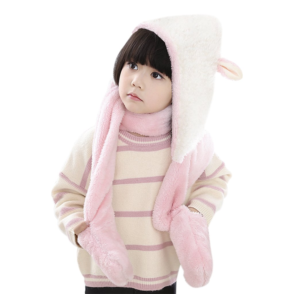 Kids Toddler Cute 3 in 1 Hoodie Hat Winter Thermal Soft Fluffy Full Hood Hat with Mitten Pocket Gloves Long Scarf for Baby Girls Boys, Great Christmas Birthday Gift