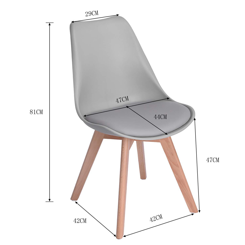 EGGREE Pack de 6 Tulip Comedor/Silla de Oficina con Las piernas de Madera de Haya Maciza, (TM) sillas sin Brazos Acolchada para Mayor comodida - Gris: ...