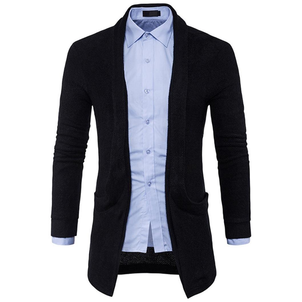 GREFER Clearance Men's Slim Fit Hooded Pocket Knit Sweater Fashion Solid Long Trench Coat Jacket (L, Black)