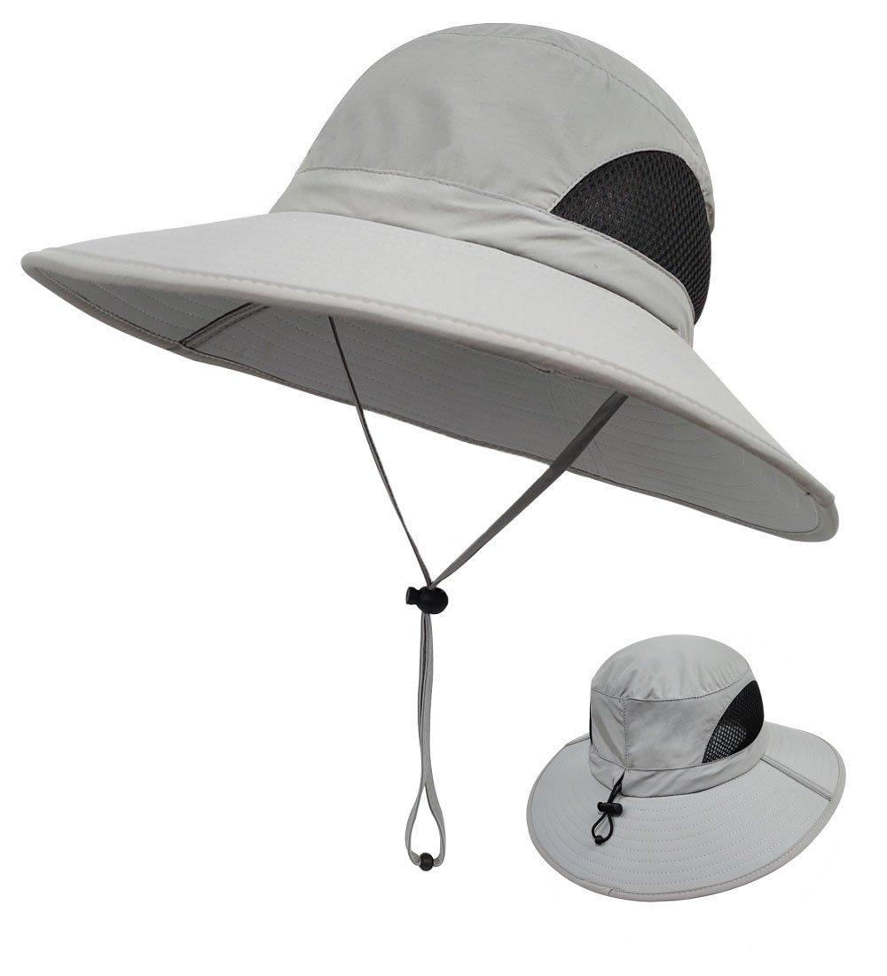 LETHMIK Outdoor Waterproof Fishing Hat,Summer UV Protection Breathable Boonie Hat Hunting Safari Sun Hat Light Grey