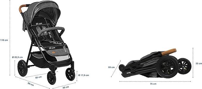 Gris Lionelo Bell poussette bebe jusqu/à 22 kg auvent XXL avec fen/être r/églage du dossier et repose-pieds grandes roues gonflables chauffe-pieds moustiquaire porte-gobelet