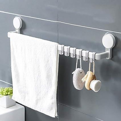 Toalleros de Barra Toalleros Barra Toalla baño toallero Percha para Puerta Estante Colgante Libre Perforación Baño