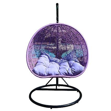Amazon.com: Lavanda Huevo Forma de mimbre Rattan, sillón ...