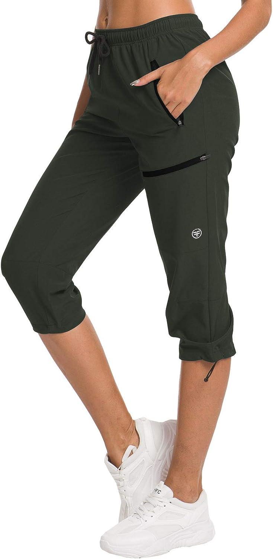 Womens Hiking Cargo Pants Lightweight Water Resistant Capris Outdoor Fishing Pants UPF 50 Zipper Pockets