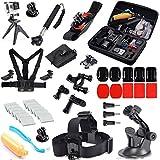 Oldelf 31-in-1 Travel Kit for GoPro Hero 4 Black/Silver HD 3+ 3, Large Protective Bag + Chest Belt Strap + Head Belt + Extendable Handle Monopod + Suction Cup + Floating Handle Grip + Wrist Holder + Bike Handlebar Holder + Tripod Stand + J-Hook ect.
