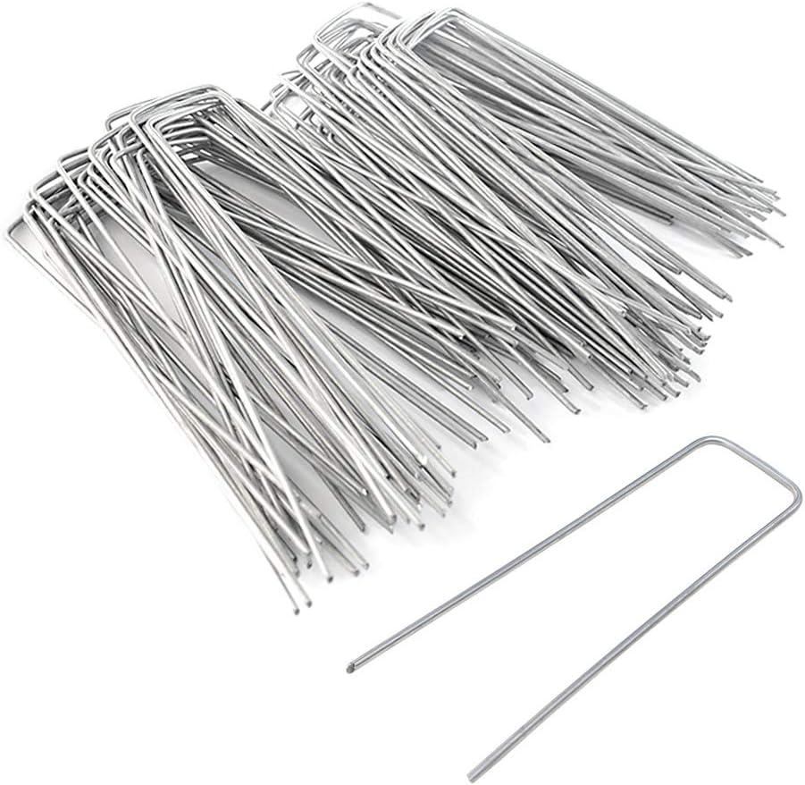LZYMSZ - Juego de 200 grapas/estacas galvanizadas para jardín de 15, 24 cm, en forma de U para asegurar la tela de barrera de malas hierbas, vallas, mangueras, goteadores de césped: Amazon.es: Jardín