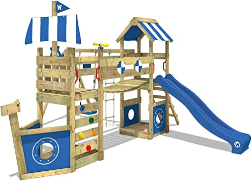 WICKEY Parque infantil de madera StormFlyer con columpio y tobogán azul, Casa de juegos de jardín con arenero y escalera para niños: Amazon.es: Bricolaje y herramientas