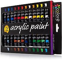 Colore - Ensemble de Peinture acrylique - parfait pour toile de peinture, d'argile, tissu, Art d'ongle et céramique - pigments riches avec la qualité durable - Idéal pour les débutants, les étudiants et artiste professionnel - 24 couleurs