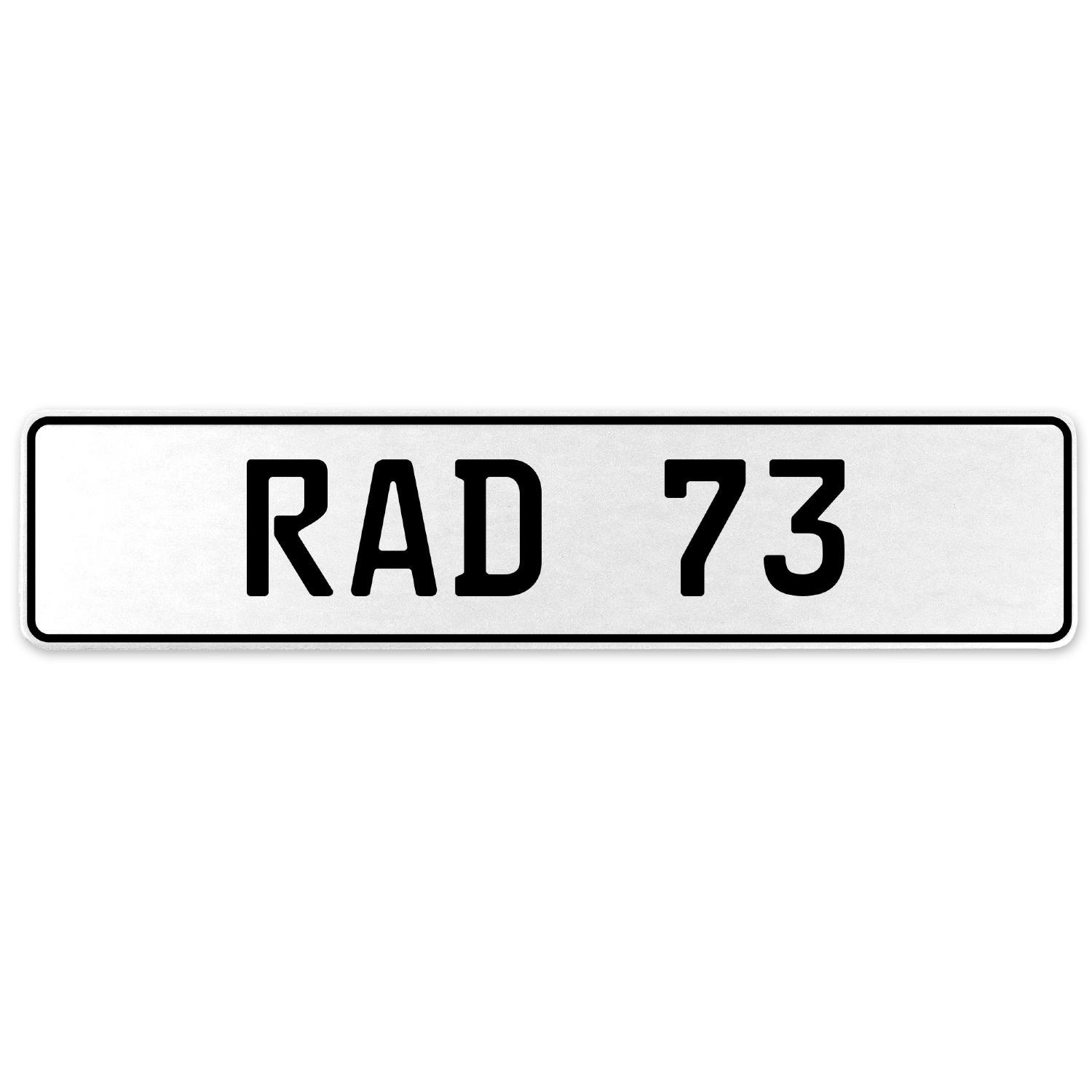Vintage Parts 553977 RAD 73 White Stamped Aluminum European License Plate