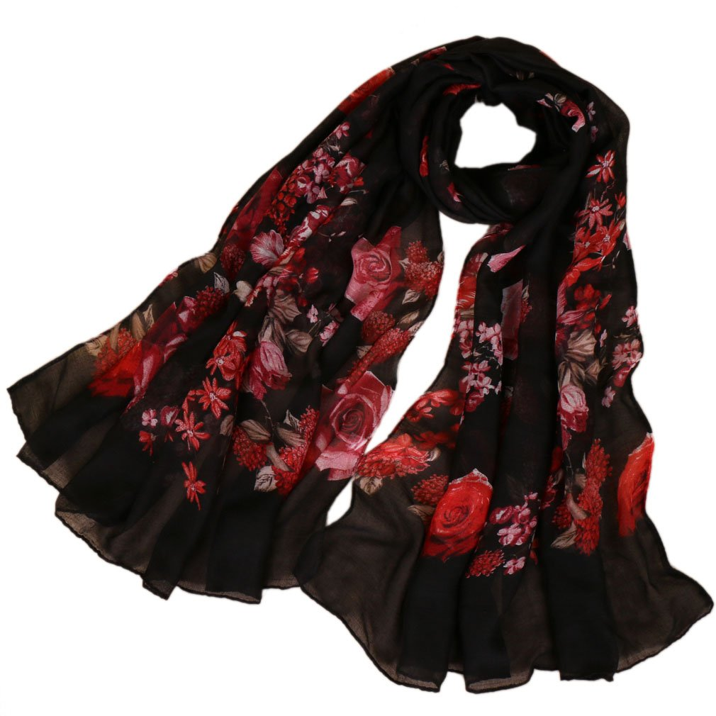 f6352c3df7fd8 Amazon.com: LMVERNA Viscose Scarfs for Women Flower Peony Printe Shawls wrap  Long Fashoin Floral Scarves (Black): Home & Kitchen