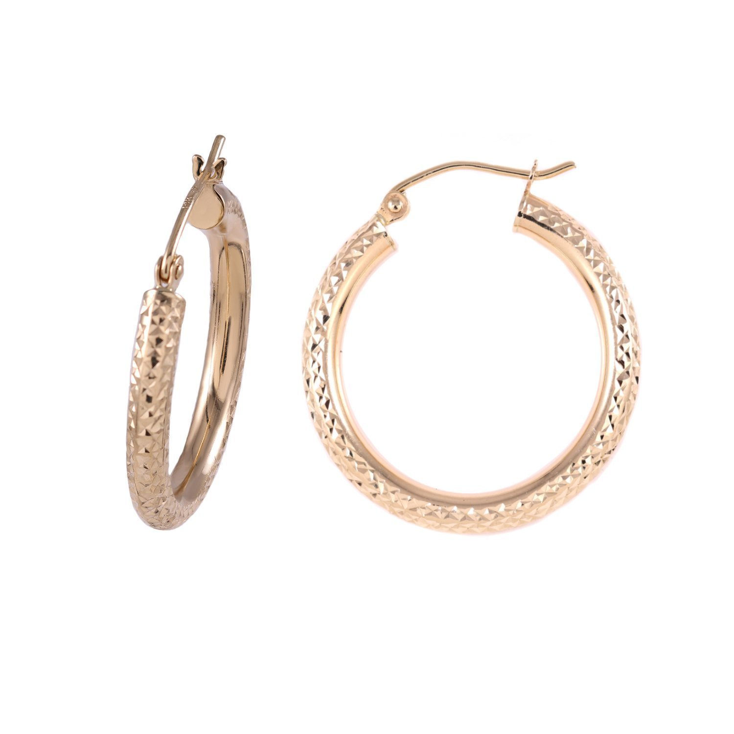 BallucciToosi 14k Gold Round Hoop Earrings - Yellow High Polish Finnish (25mm Diameter)-Unique Jewelry for Girls and Womens