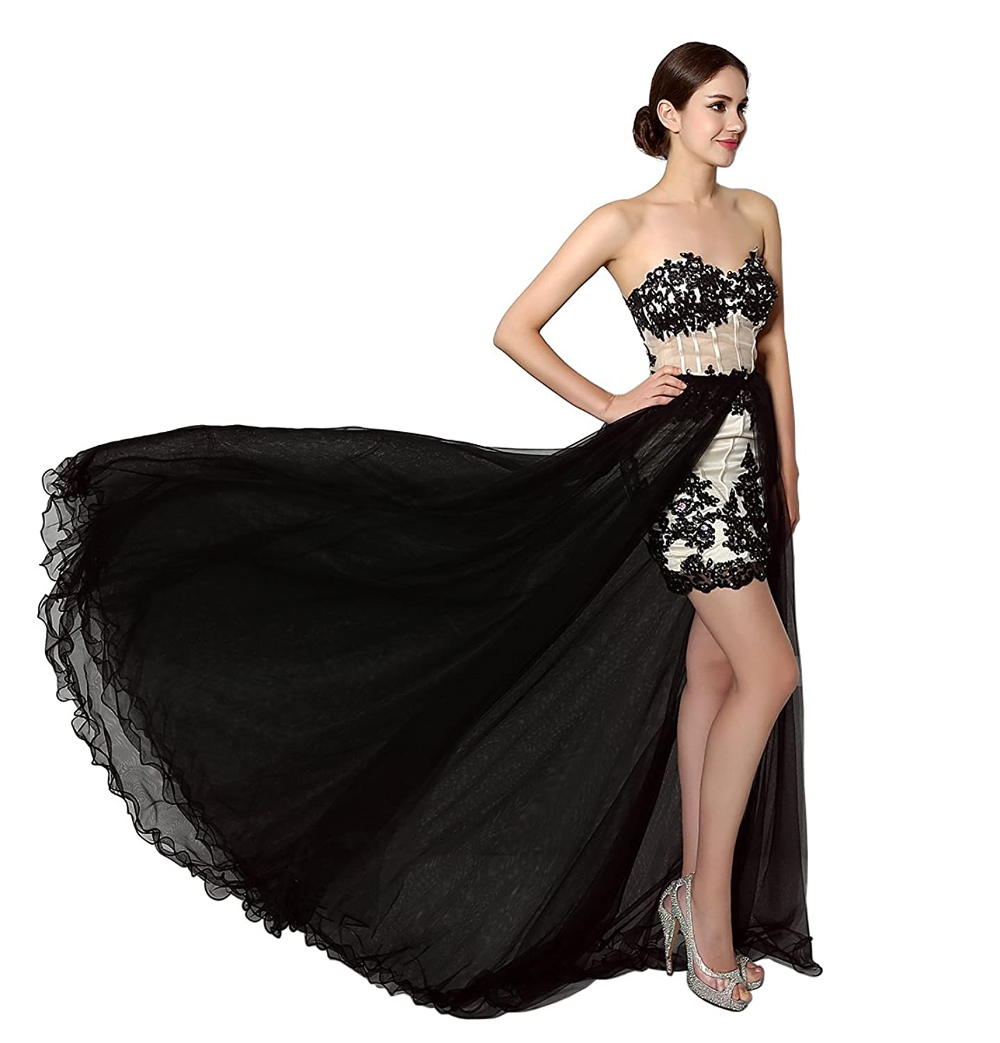 RUKLEID Wowen's Maxi Tulle Fabric With Appliques Crystal Sweetheart Neck Lace-up Back Detachable Court Train Prom Party Dresses