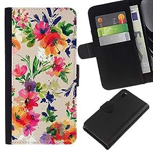 All Phone Most Case / Oferta Especial Cáscara Funda de cuero Monedero Cubierta de proteccion Caso / Wallet Case for Sony Xperia Z3 D6603 // Flower Bouquet Pattern Wallpaper